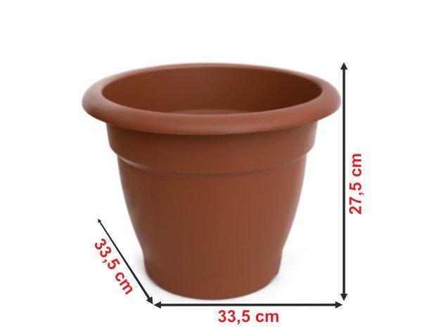 Informação dimensional do vaso terracota VT33