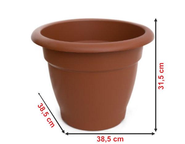 Informação dimensional do vaso terracota VT38
